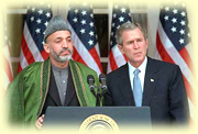 Bush and Hamid Karzai, the new president of Afghanistan